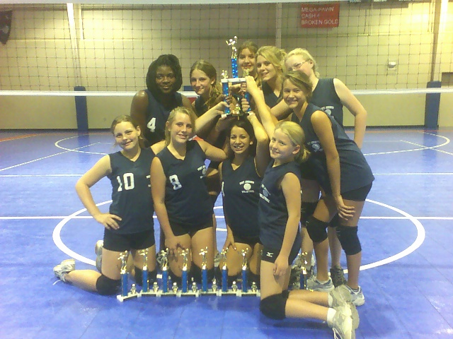 Girls volleyball team with trophies