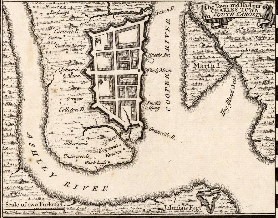 1733 map of Charleston published by Herman Moll
