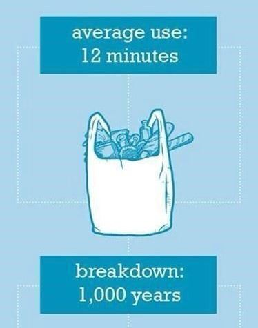 plastic bag average use 12 mins breakdown 1000 years