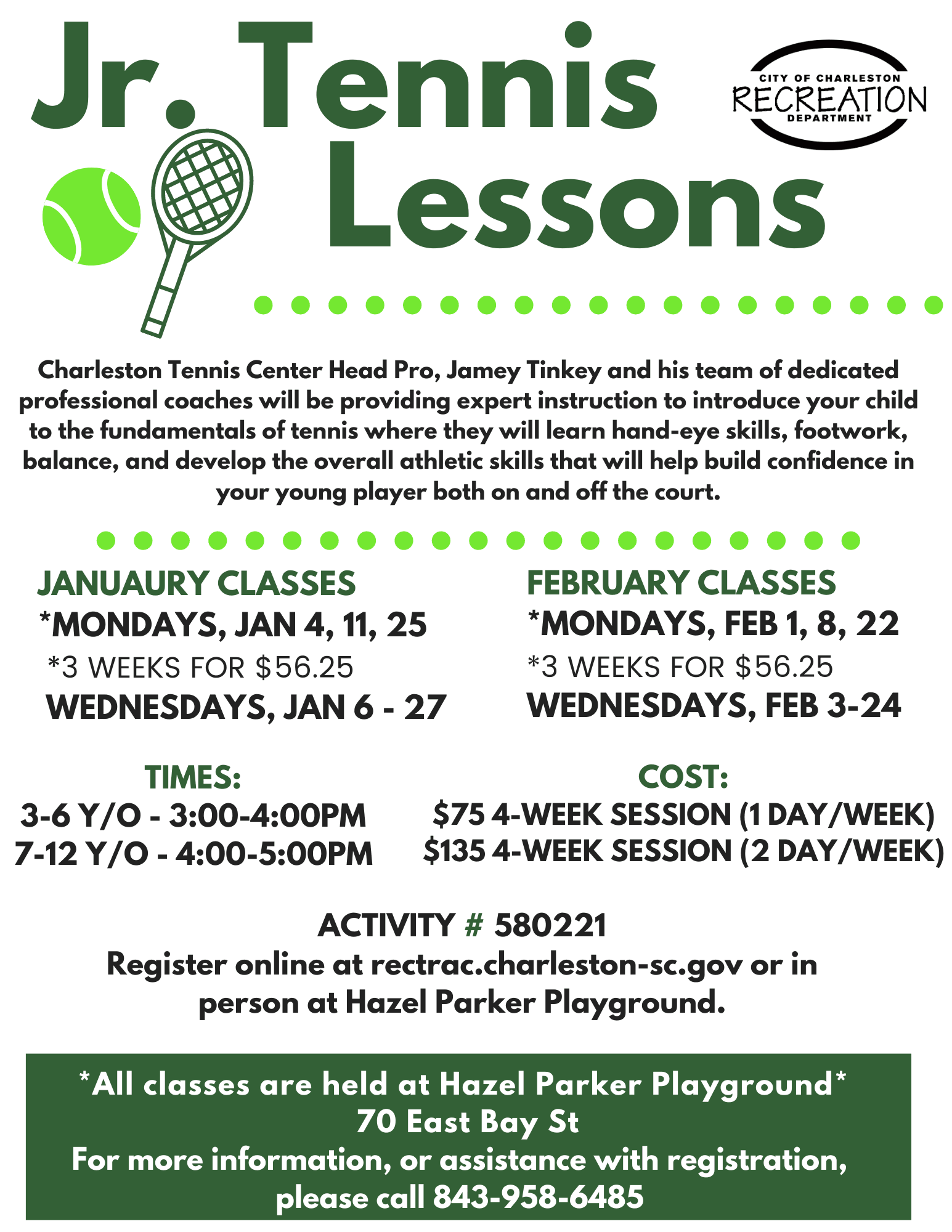 Jr. Tennis Lessons 2021